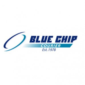 blue chip courier logo website design